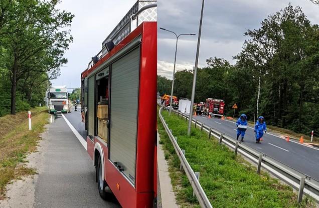 Strażacy pracowali w kombinezonach przeciwchemicznych. Droga nr 3 została zamknięta.