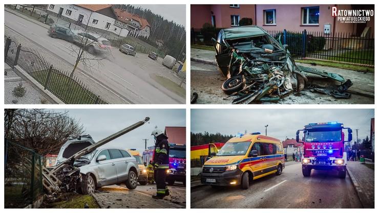 Dramatyczny wypadek pod Ełkiem. Zderzenie trzech samochodów [WIDEO]