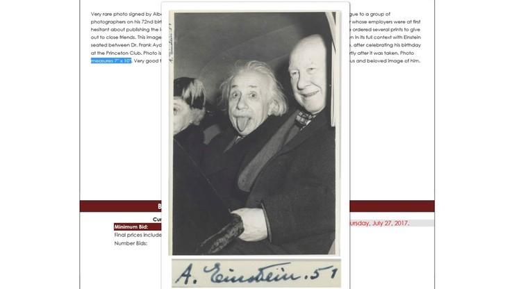 Einstein pokazujący język. 125 tys. dolarów za słynne zdjęcie