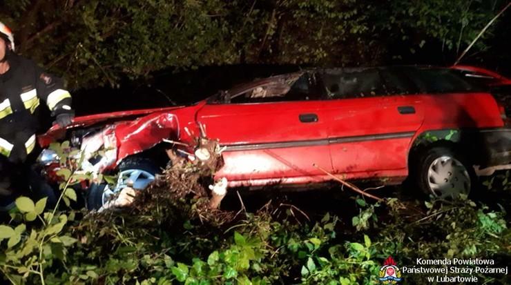 Wypadek na Lubelszczyźnie. Nieprzytomny kierowca z głową zanurzoną w wodzie