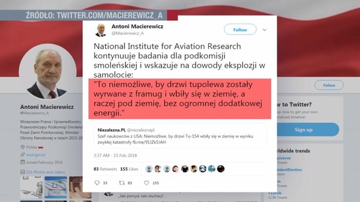 Macierewicz: badania Amerykanów wskazują na dowody eksplozji w Tu-154M