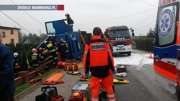 Koszmarny wypadek w Wieprzu. Zginął kierowca ciężarówki