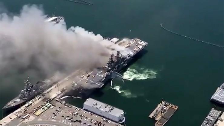 Wybuch na amerykańskim okręcie wojskowym. Jest wielu rannych