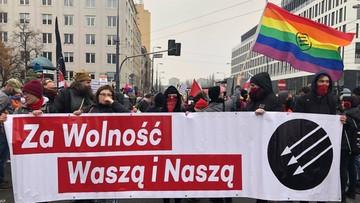 """""""Prawa zdobywa się w walce"""". Demonstracja antyfaszystowska w Warszawie"""