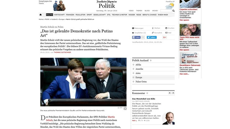 """Martin Schulz o Polsce: """"Niebezpieczna putinizacja europejskiej polityki"""""""