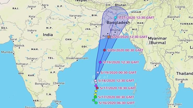 Dotychczasowa, aktualna i prognozowana trasa cyklonu Amphan