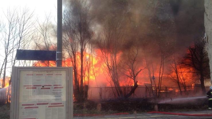 Pożar zakładu przemysłu drzewnego w Dziemianach