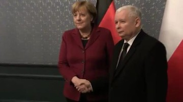 """""""Wydaje mi się, że ta wizyta przyniesie dobre rezultaty"""". Spotkanie Kaczyński-Merkel; manifestacja przed hotelem"""