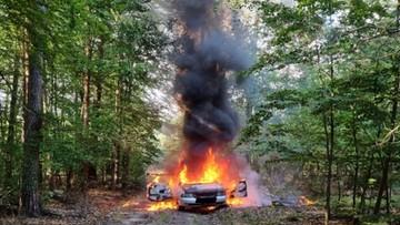 Pijany, bez OC i prawa jazdy. Porzucił auto w lesie, gdzie spłonęło