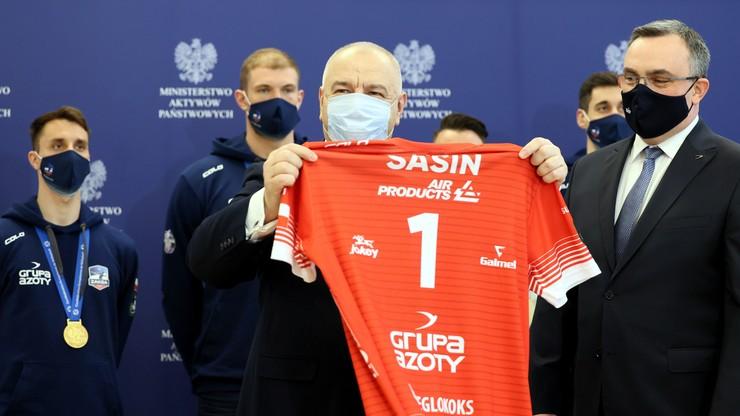 Minister Jacek Sasin spotkał się z siatkarzami ZAKSY