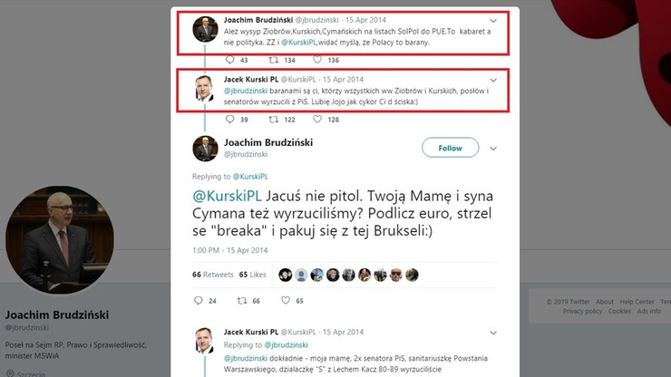 """""""Jacuś nie pitol"""" vs """"Cykor Ci d… ściska"""". Brudziński z Kurskim przed eurowyborami w 2014 r."""