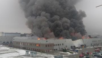 Pożar hali magazynowej w Warszawie. Trwa dogaszanie pogorzeliska