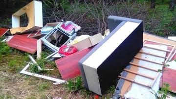Dokumentacja medyczna i faktury wśród śmieci wyrzuconych w lesie