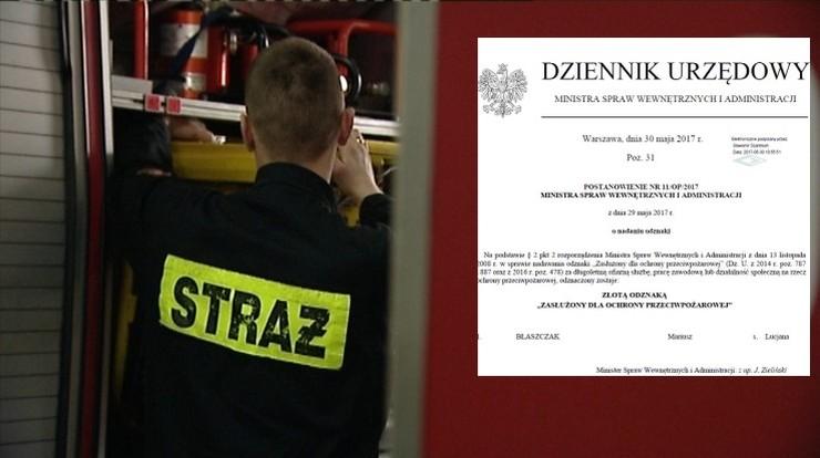 Szef MSWiA Mariusz Błaszczak odznaczył Mariusza Błaszczaka. Za zasługi na rzecz ochrony przeciwpożarowej