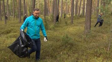 """Para prezydencka zbierała śmieci w lesie. """"Lasy to nasze wspólne dobro"""""""