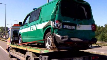 Ciężarówka wjechała w auto Żandarmerii Wojskowej, które zamykało kolumnę wojsk amerykańskich