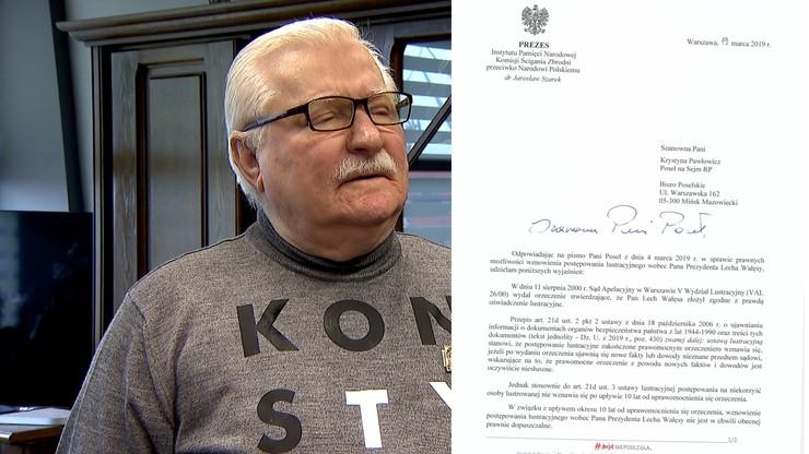 """""""Wznowienie lustracji Wałęsy nie jest obecnie prawnie dopuszczone"""". IPN odpowiada Pawłowicz"""