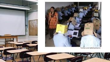 """Pisali egzamin z kartonami na głowach. """"To był eksperyment"""""""