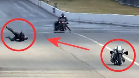 Motocyklista uderza w bandę przy prędkości 350 km/h i... przeżywa wypadek (film)