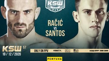 KSW 57: Brazylijczyk rywalem Racicia. Karta walk pełna!