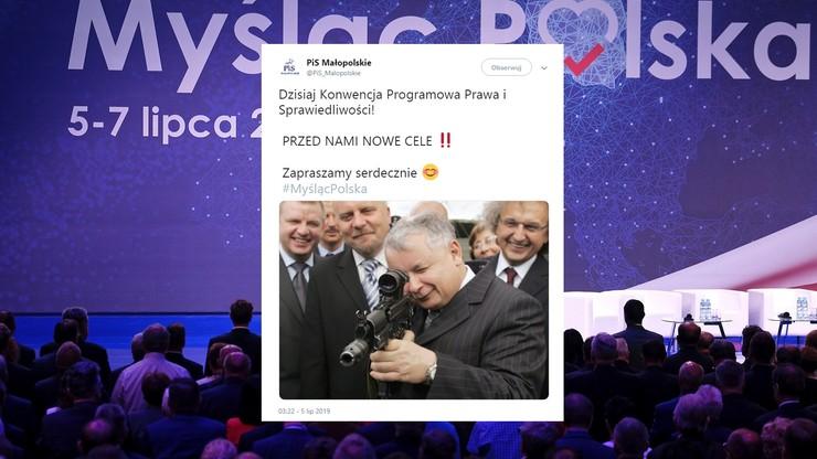 Kaczyński z karabinem snajperskim. Tak PiS Małopolska promuje konwencję partii