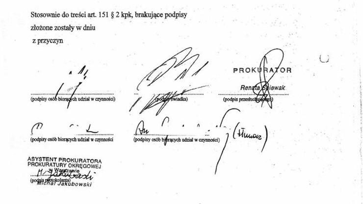 Prokuratura opublikowała skan protokołu z przesłuchania Birgfellnera. Jest na nim jego podpis