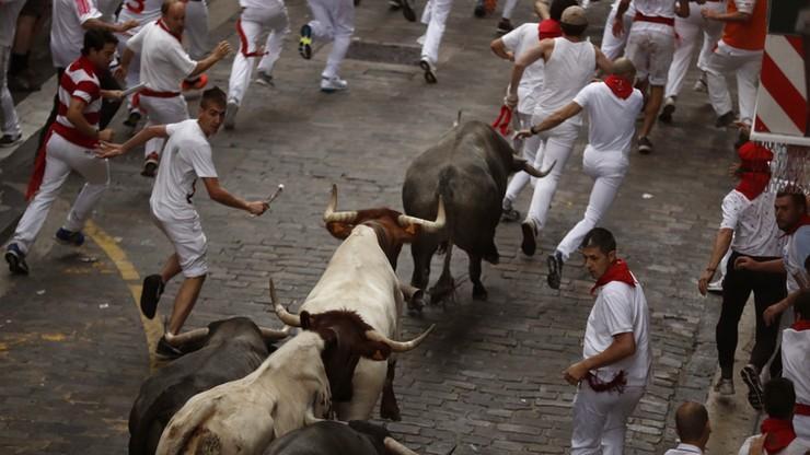 Ugodzeni w rękę i pośladek. Dwie osoby wzięte na rogi w gonitwie z bykami w Pampelunie