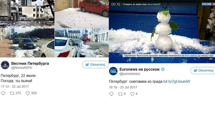 W Petersburgu spadł śnieg. W środku lata. Ludzie jeździli na nartach i lepili bałwany