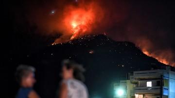 Grecja: pożar lasu w pobliżu nadmorskiego kurortu Lutraki, na zachód od Aten