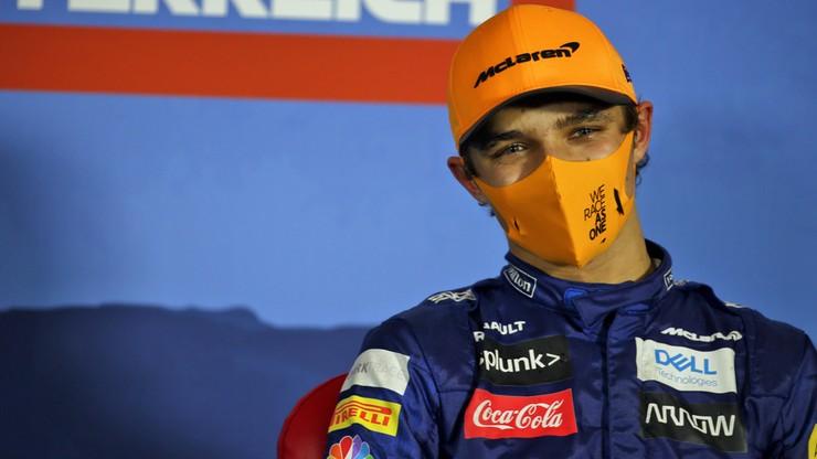Zbyt gorące czoło schłodził... butelką wody. F1 ignoruje zachowanie Lando Norrisa