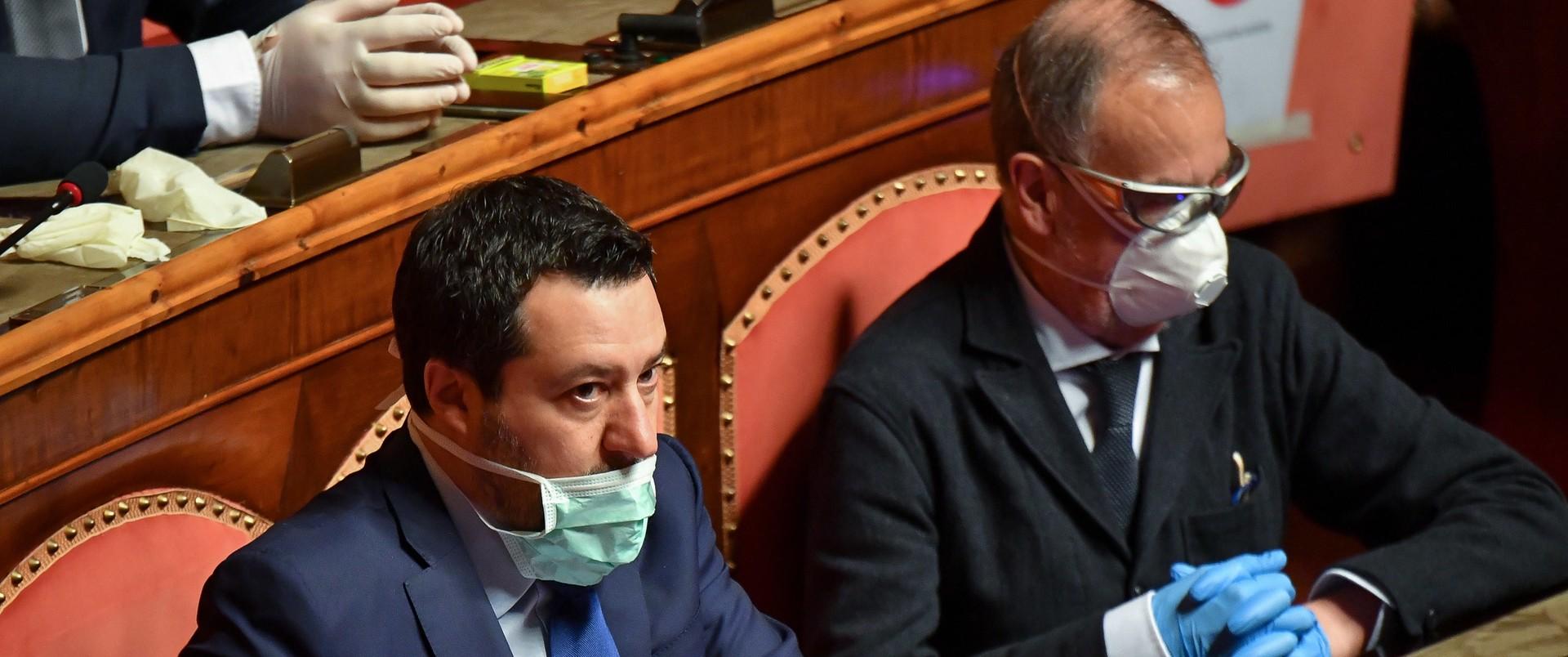 Matteo Salvini w czase sesji włoskiego parlamentu