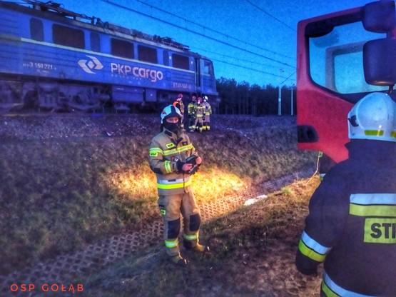 Pożar lokomotywy na linii kolejowej Lublin - Warszawa