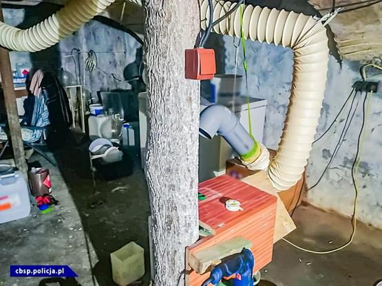 Wejście do fabryki narkotyków policjanci znaleźli sprawdzając pomieszczenia gospodarcze na jednej z przeszukiwanych posesji. Właz ukryty był w kojcu dla psów.