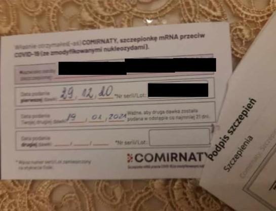 Informacja, którą otrzymała położna w dniu pierwszego szczepienia. Na przyjęcie drugiej dawki zaproszono ją na wtorek 19 stycznia