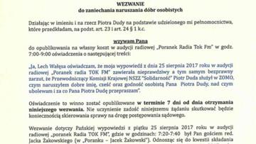 Piotr Duda żąda przeprosin od Lecha Wałęsy. Wysłał b. prezydentowi przedsądowe wezwanie
