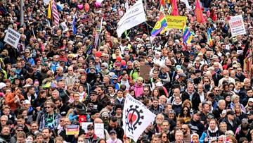 Tysiące koronasceptyków w Stuttgarcie. Protestowali przeciwko obostrzeniom