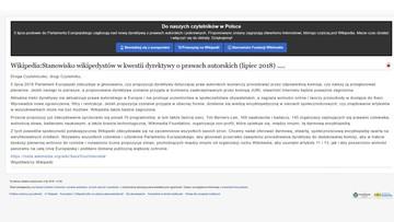 Polska Wikipedia wyłączona na 24 godziny. Protest przeciwko dyrektywie UE o prawie autorskim