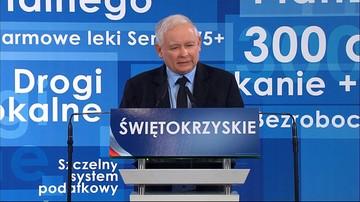 """""""Musimy przemalować województwo z zielonego na niebieskie"""". Kaczyński na konwencji PiS w Kielcach"""
