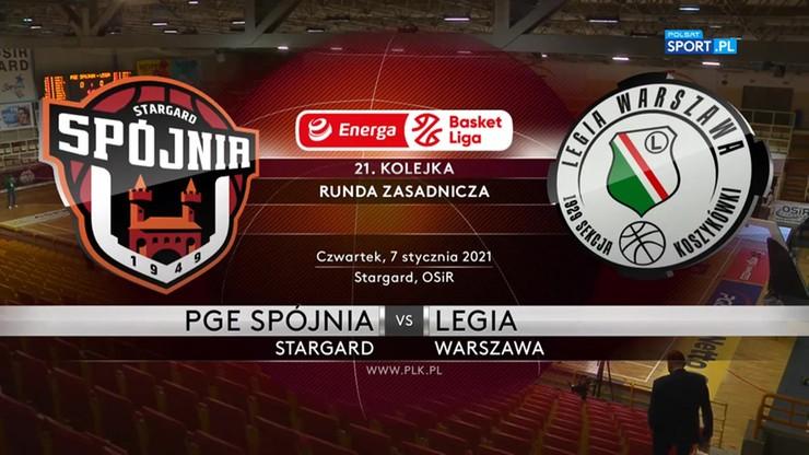 PGE Spójnia Stargard - Legia Warszawa 73:79. Skrót meczu