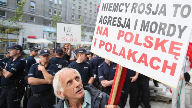 Antyeuropejska demonstracja przed przedstawicielstwem Komisji Europejskiej w Warszawie